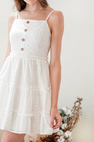 ELLIE TIERED EYELET BABYDOLL DRESS #MADEBYLOVET (WHITE) *BACKORDER*