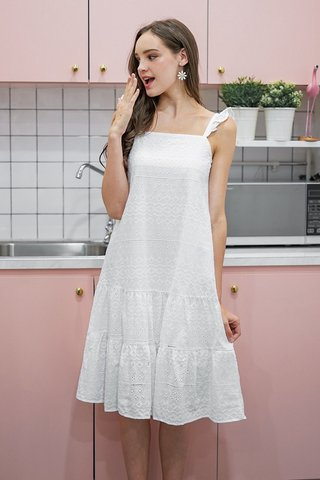 FAUSTINA EYELET DROPWAIST MIDI DRESS #MADEBYLOVET (WHITE)