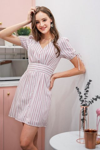 JOYCE PINSTRIPE RIBBON LINEN DRESS #MADEBYLOVET (RED)