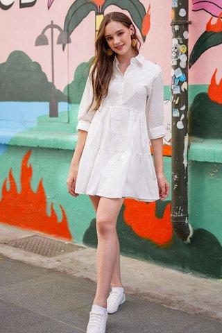 OAKLYNN BABYDOLL SHIRT DRESS #MADEBYLOVET (WHITE) *BACKORDER*