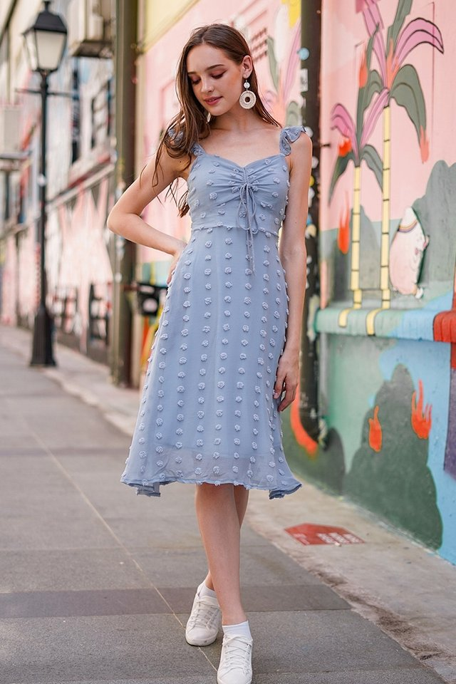 AGATHA POM POM SCRUNCHED MIDI DRESS #MADEBYLOVET (DUSTY BLUE)