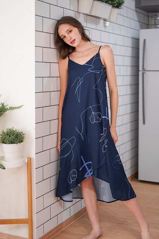 CAMILIA DOODLE ASYMMETRICAL LOUNGE DRESS #MADEBYLOVET (NAVY) *RESTOCKED*