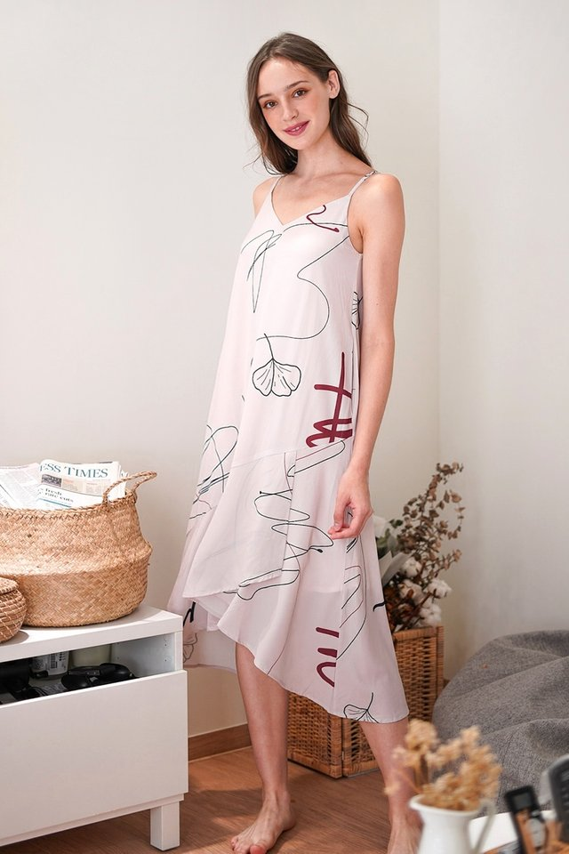 CAMILIA DOODLE ASYMMETRICAL LOUNGE DRESS #MADEBYLOVET (BUTTERMILK)