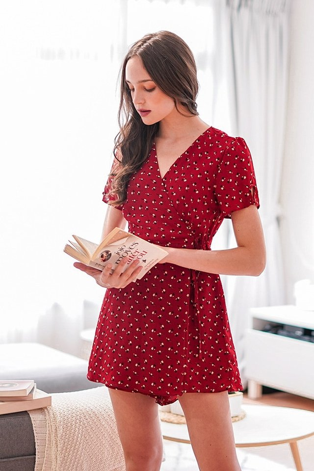 CAROLYN  WRAP TIE-STRING FLORAL ROMPER DRESS #MADEBYLOVET (CHERRY RED) *BACKORDER*