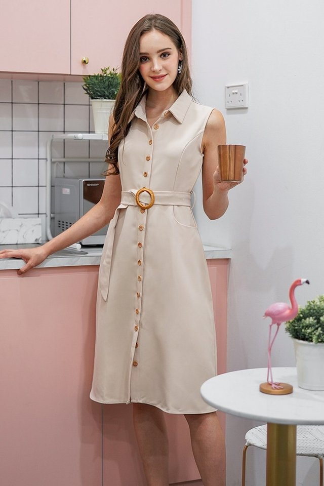 CATHERINE BUTTON DOWN MIDI DRESS WITH BELT #MADEBYLOVET (SAND)