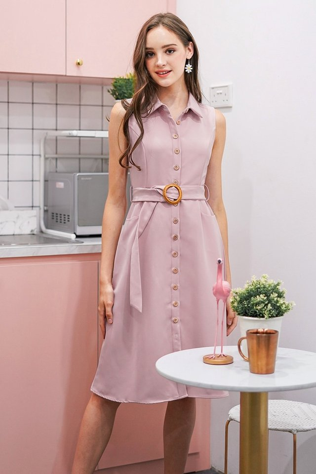 CATHERINE BUTTON DOWN MIDI DRESS WITH BELT #MADEBYLOVET (LAVENDER PINK)