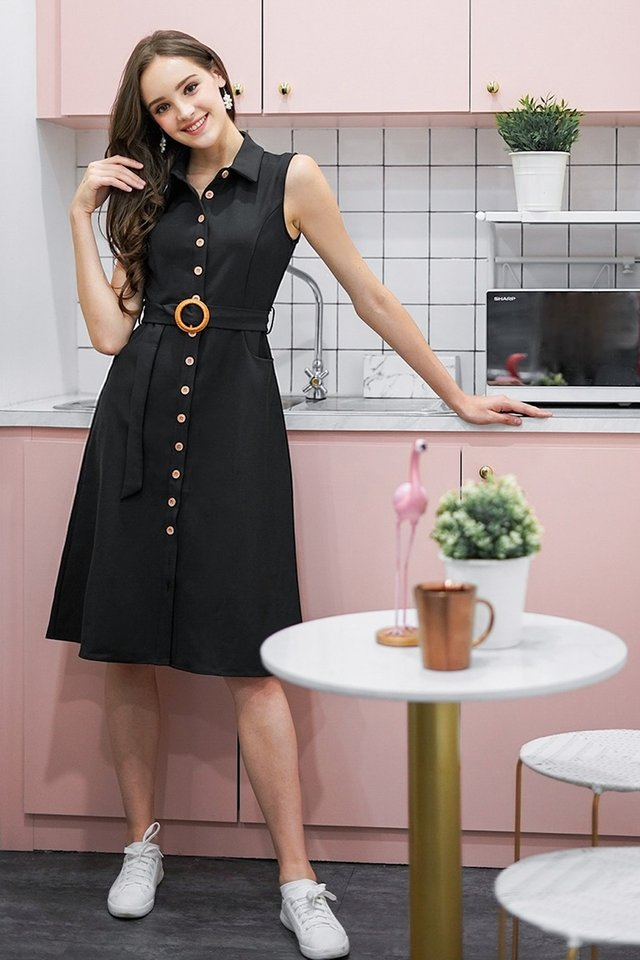 CATHERINE BUTTON DOWN MIDI DRESS WITH BELT #MADEBYLOVET (BLACK)