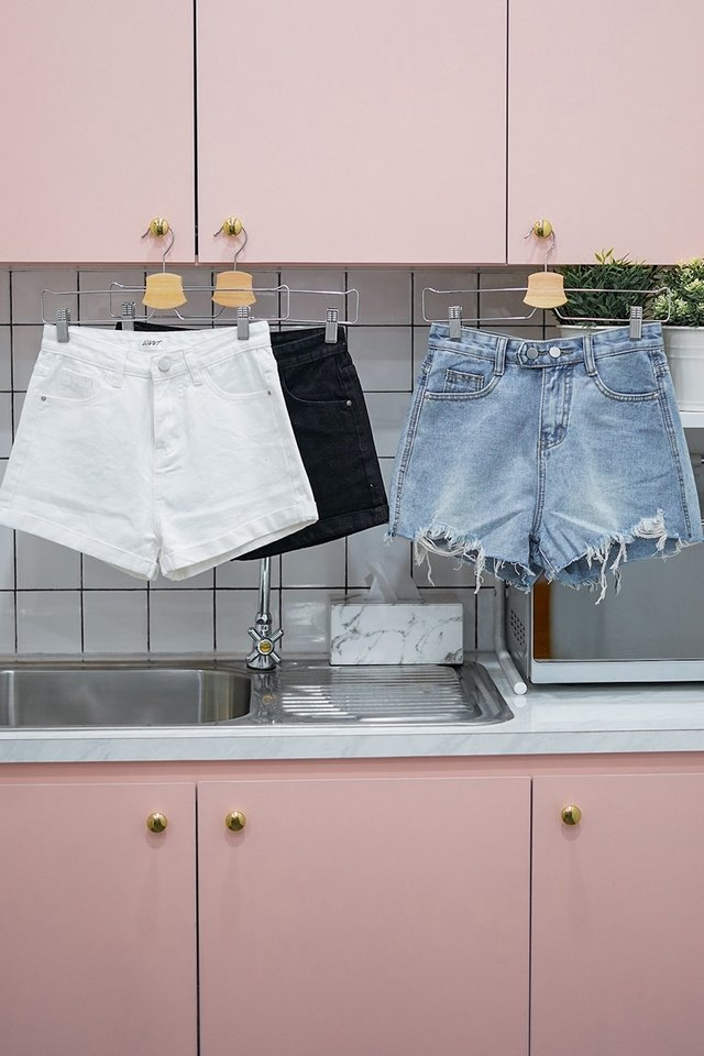 JODI HIGH WAIST CUFFED DENIM SHORTS #MADEBYLOVET (WHITE) *BACKORDER II*