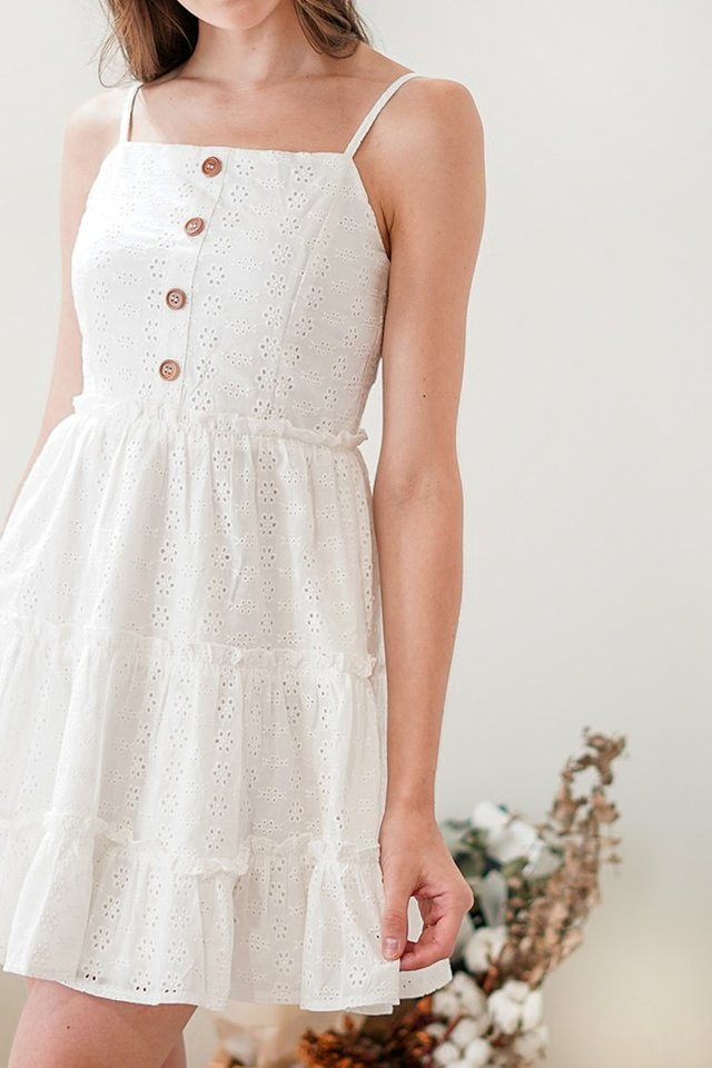 ELLIE TIERED EYELET BABYDOLL DRESS #MADEBYLOVET (WHITE) *RESTOCKED*