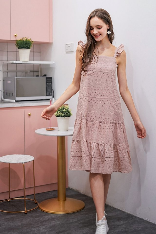 FAUSTINA EYELET DROPWAIST MIDI DRESS #MADEBYLOVET (DUSTY PINK)