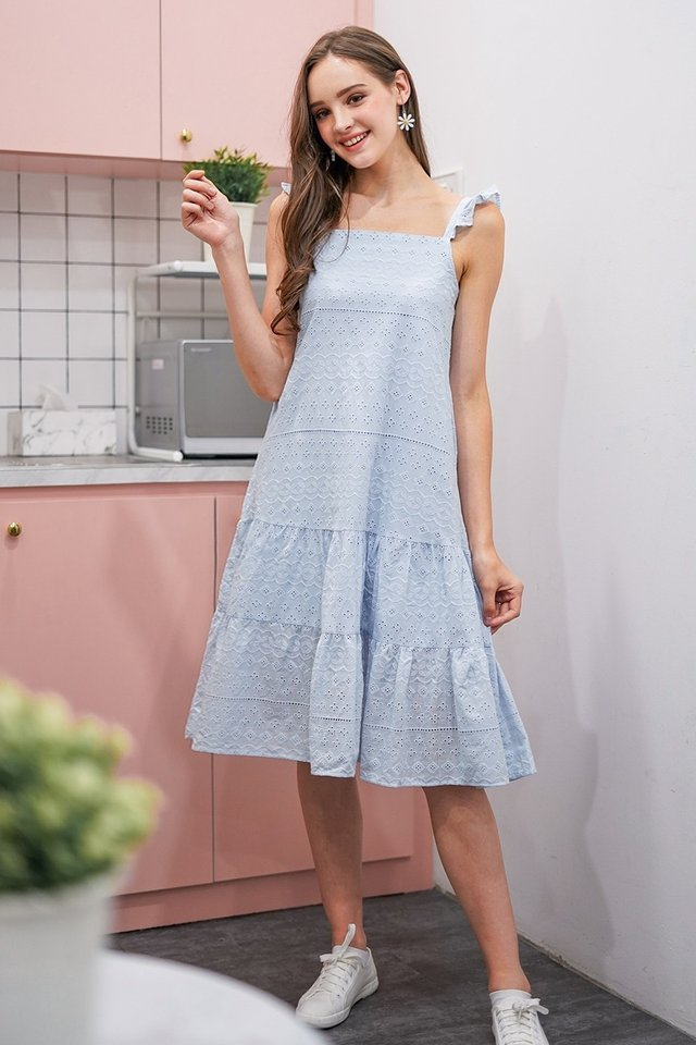 FAUSTINA EYELET DROPWAIST MIDI DRESS #MADEBYLOVET (PASTEL BLUE)