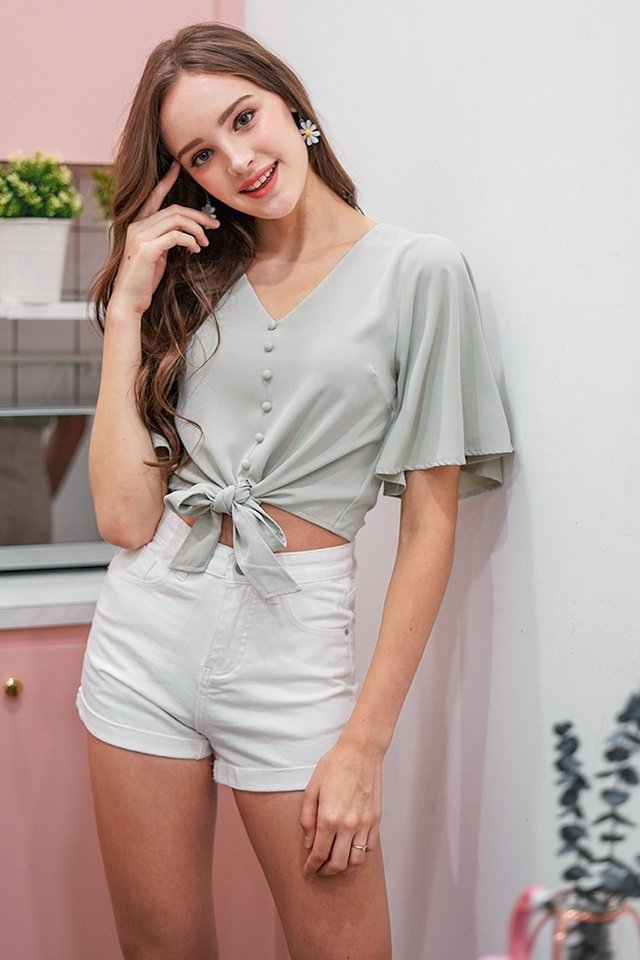MABELLINE BUTTON TIE RIBBON TOP #MADEBYLOVET (MINT) *RESTOCKED*