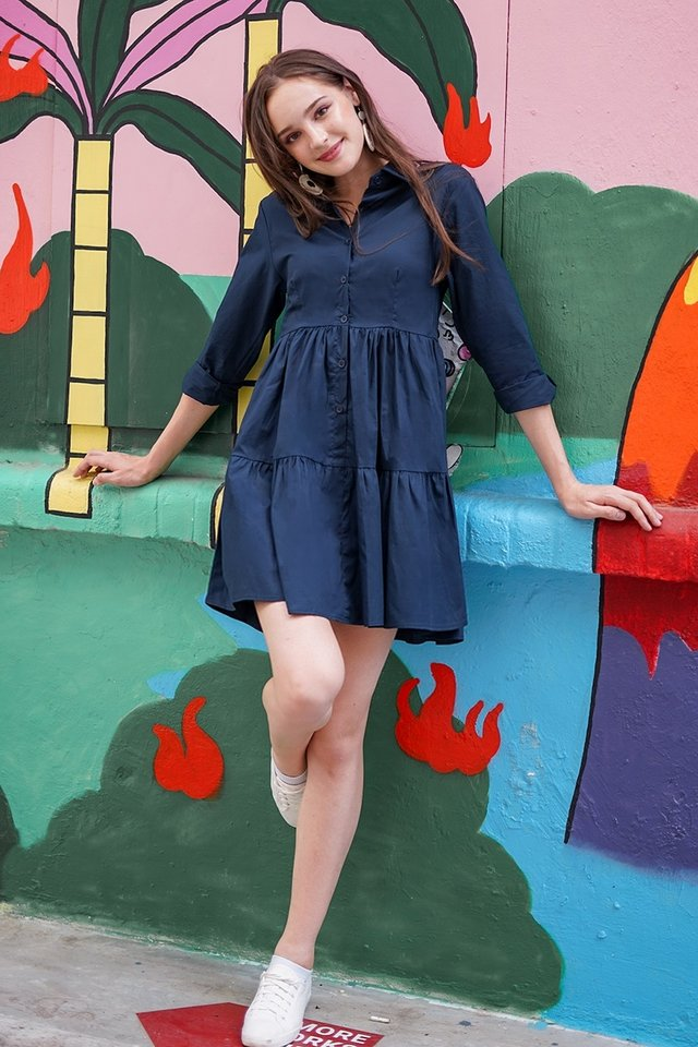 OAKLYNN BABYDOLL SHIRT DRESS #MADEBYLOVET (NAVY) *RESTOCKED*