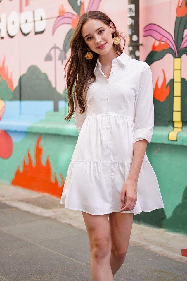 OAKLYNN BABYDOLL SHIRT DRESS #MADEBYLOVET (WHITE) *RESTOCKED*