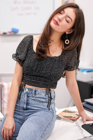 HEARTSTRINGS 2-WAY SCRUNCH CROP TOP #MADEBYLOVET (BLACK) *BACKORDER*