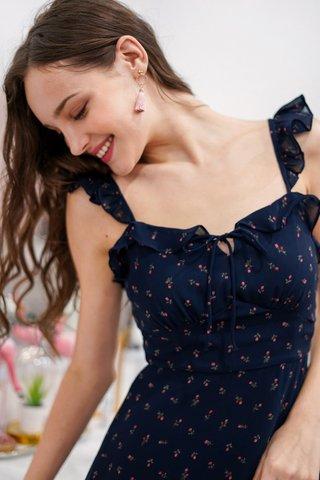 MIA ROSE RIBBON DRESS #MADEBYLOVET (NAVY)