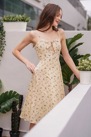 NAUVELLE FLORAL TIE FRONT RIBBON MIDI DRESS #MADEBYLOVET (BUTTERMILK YELLOW)