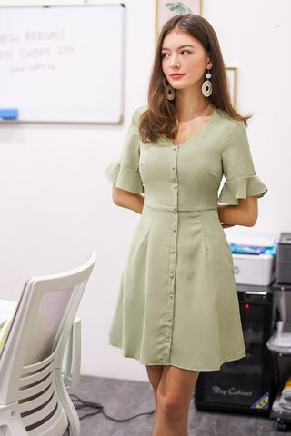 TABITHA BUTTON SKATER DRESS #MADEBYLOVET (SAGE)