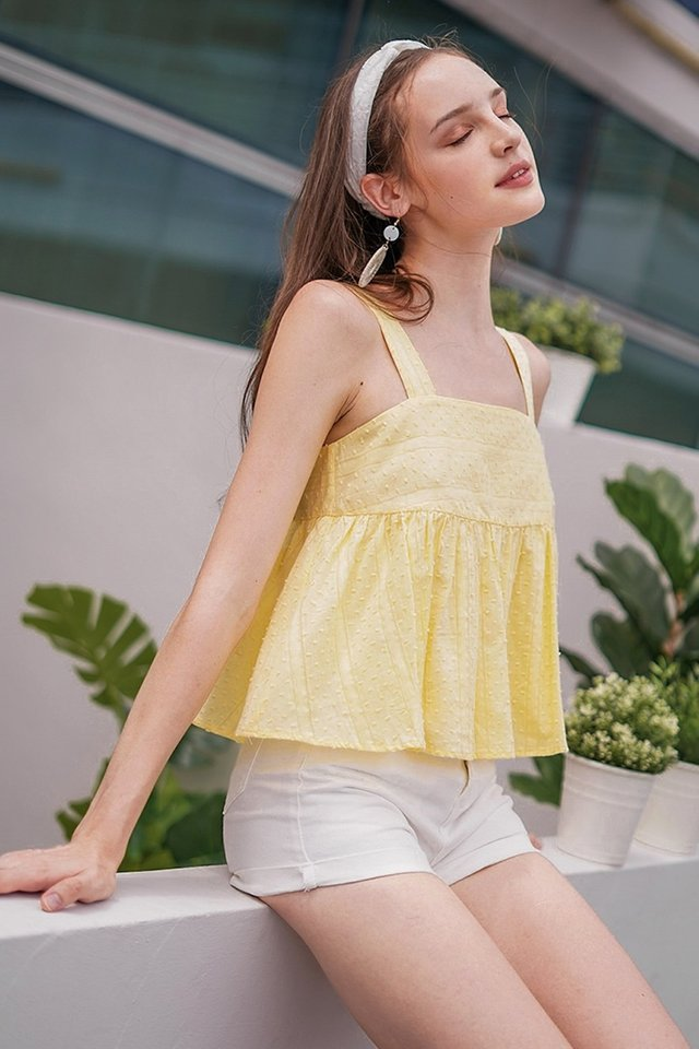 CYNDI SWISS DOT BABYDOLL TOP #MADEBYLOVET (DAFFODIL YELLOW)