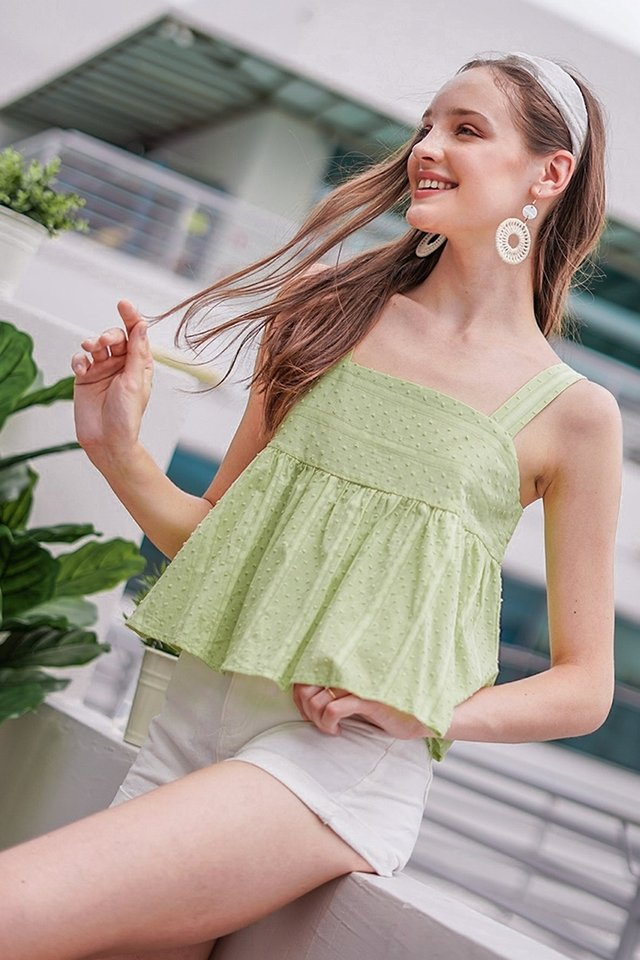 CYNDI SWISS DOT BABYDOLL TOP #MADEBYLOVET (APPLE GREEN)