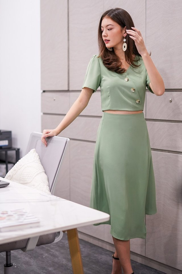 GILLIAN BUTTON ASYMMETRICAL SKIRT 2 PIECE SET #MADEBYLOVET (FERN GREEN)