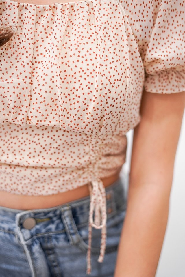 HEARTSTRINGS 2-WAY SCRUNCH CROP TOP #MADEBYLOVET (CREAM) *RESTOCKED*
