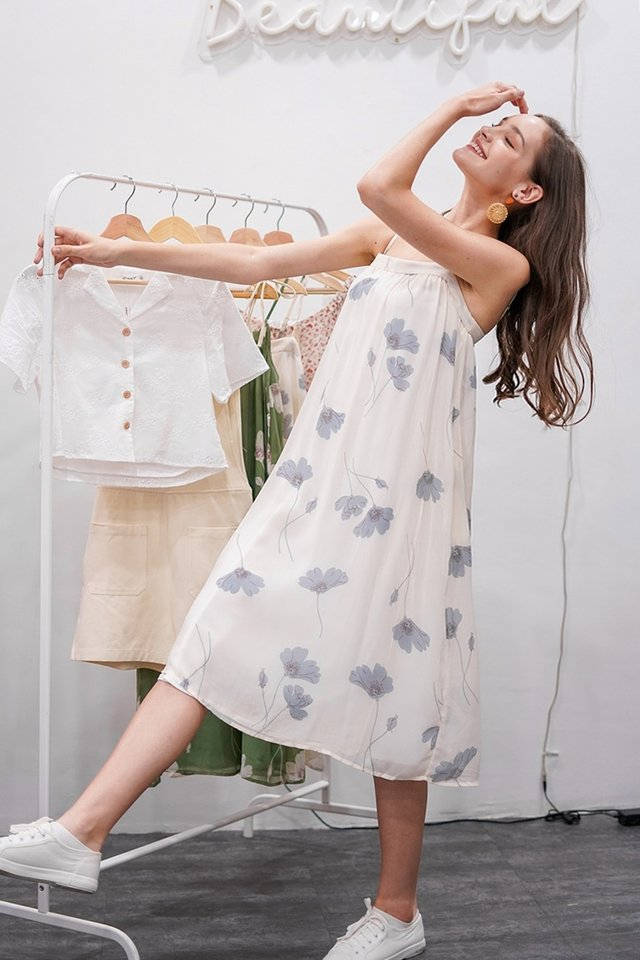 LINDY FLORAL MIDI TENT DRESS #MADEBYLOVET (CREAM) *RESTOCKED*