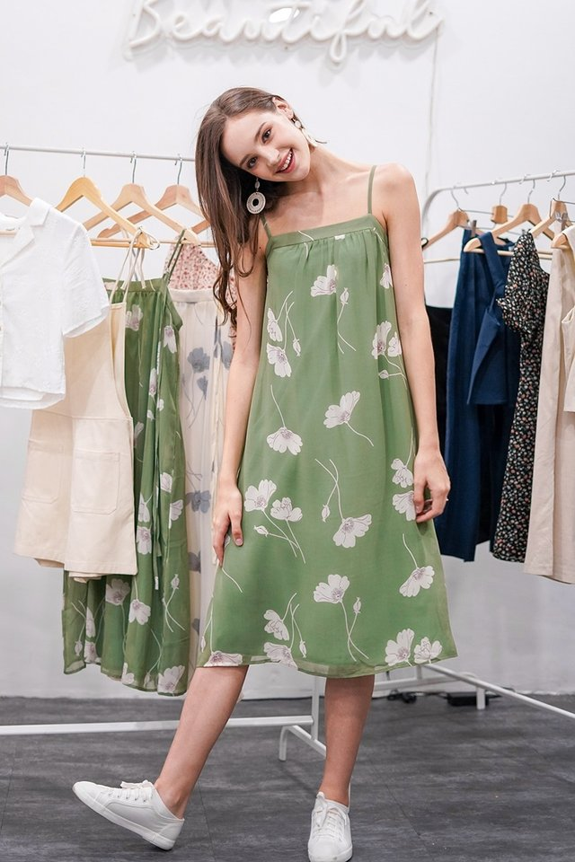 LINDY FLORAL MIDI TENT DRESS #MADEBYLOVET (PISTACHIO) *RESTOCKED*