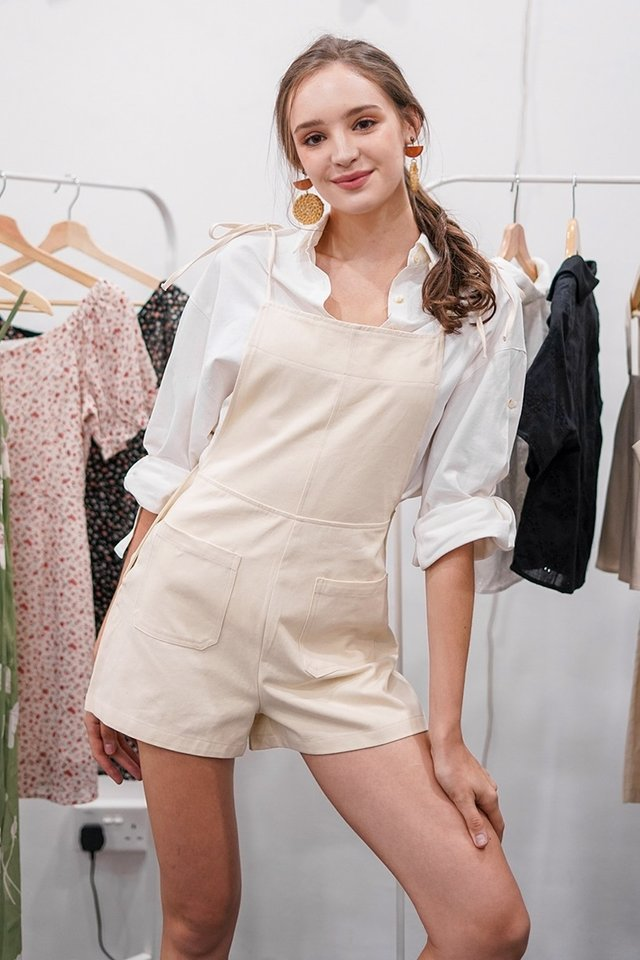 SHAYNNIE TIE-STRING BUTTON DUNGAREE #MADEBYLOVET (SAND) *RESTOCKED*