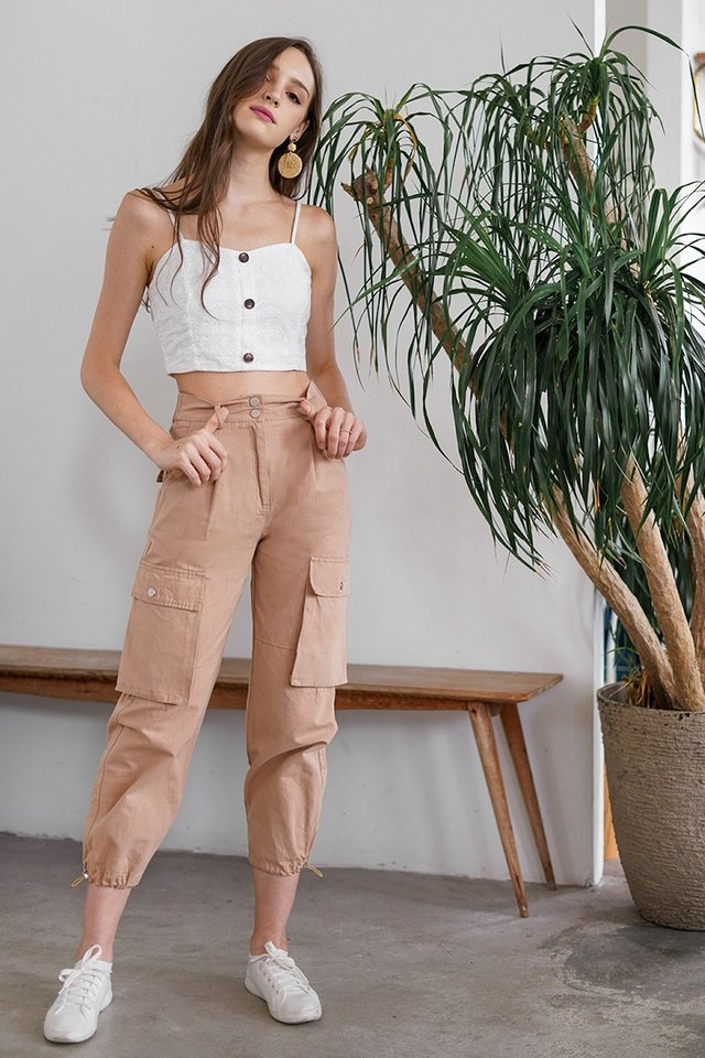 REBEL POCKET CARGO PANTS #MADEBYLOVET (CAMEL BROWN) *RESTOCKED*