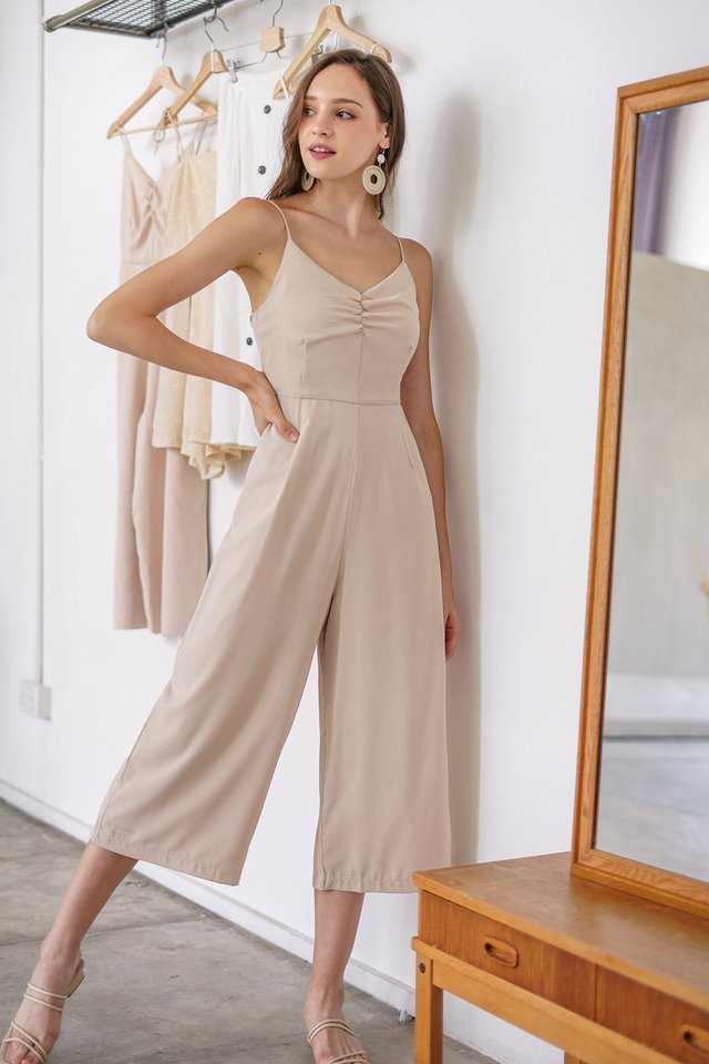 ELENA RUCHED BASIC JUMPSUIT #MADEBYLOVET (SAND)