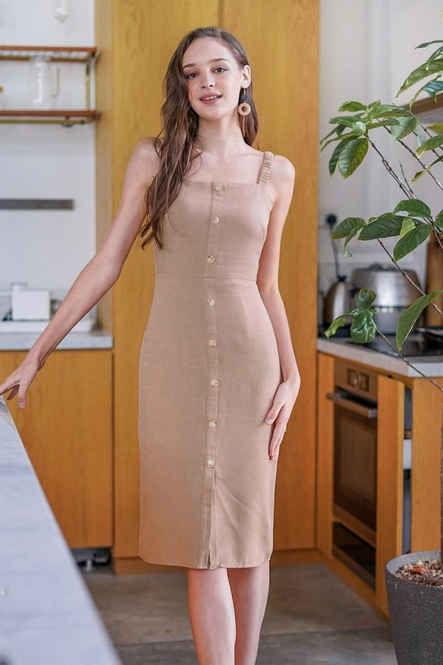 ISLA LINEN BUTTON MIDI DRESS #MADEBYLOVET (MOCHA)