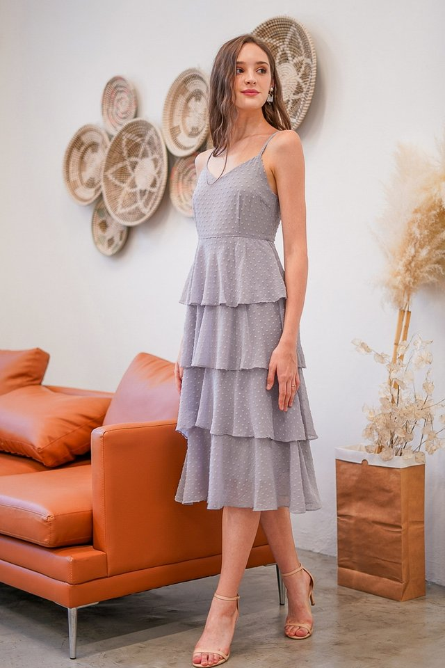 SHANELL SWISS DOT TIERED DRESS #MADEBYLOVET (DUSTY GREY)