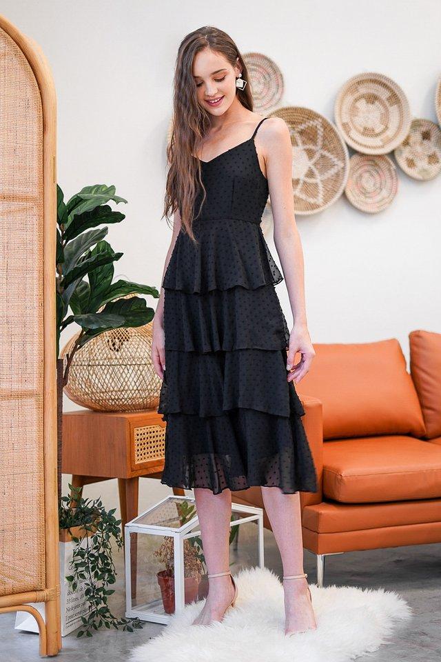 SHANELL SWISS DOT TIERED DRESS #MADEBYLOVET (BLACK)
