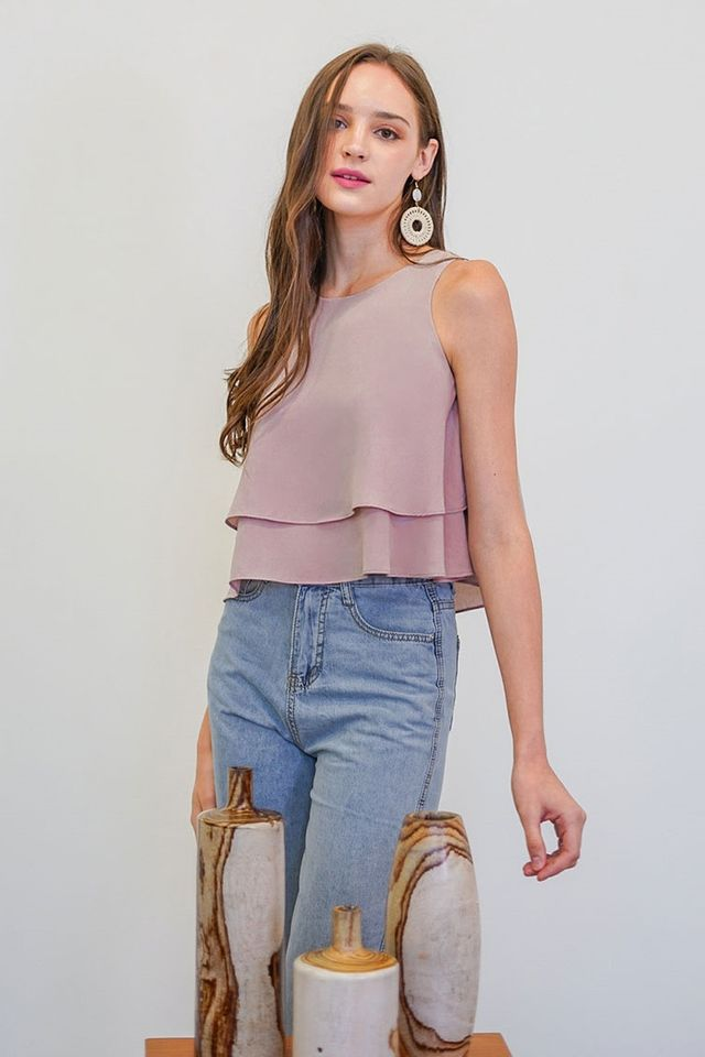ALLISON LAYERED SWING TOP #MADEBYLOVET (MAUVE PINK)