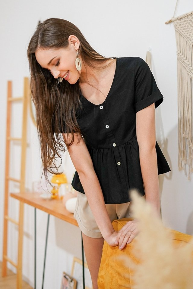ALICE LINEN BABYDOLL TOP #MADEBYLOVET (BLACK)