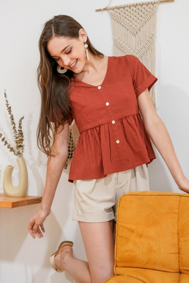 ALICE LINEN BABYDOLL TOP #MADEBYLOVET (RUST)