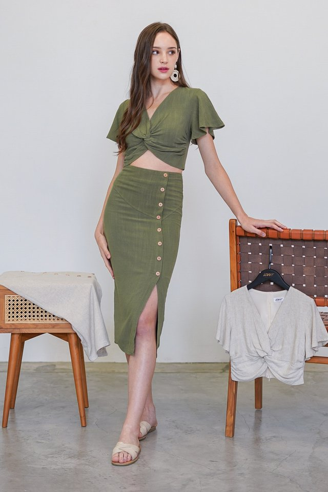 AZALEA KNOTTED 2-PIECE SET #MADEBYLOVET (OLIVE)