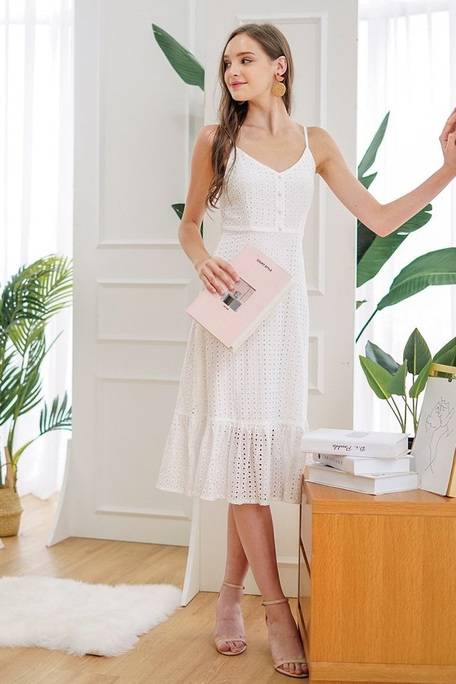 JOSIE BUTTON EYELET DROPWAIST MIDI DRESS #MADEBYLOVET (WHITE)