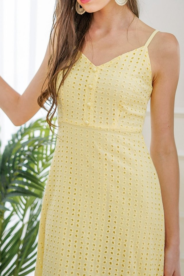JOSIE BUTTON EYELET DROPWAIST MIDI DRESS #MADEBYLOVET (DAFFODIL YELLOW)