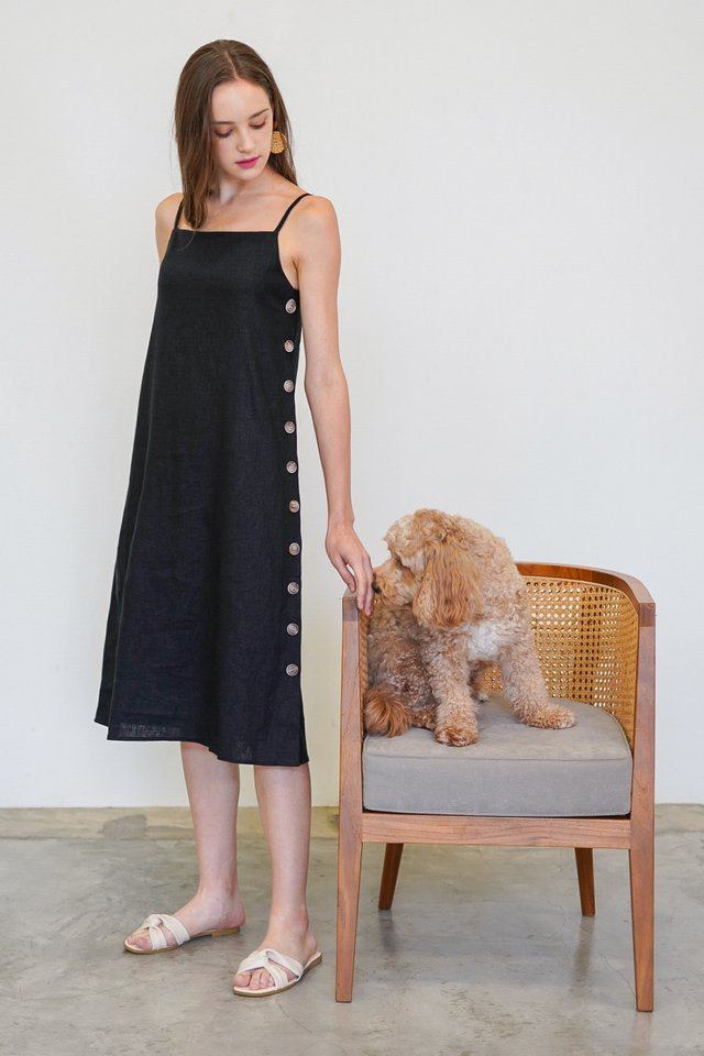 MALLORIE LINEN BUTTON MIDI DRESS #MADEBYLOVET (BLACK)