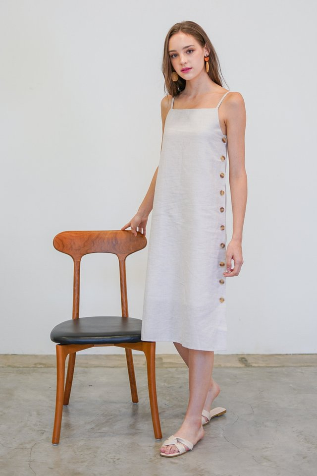 MALLORIE LINEN BUTTON MIDI DRESS #MADEBYLOVET (IVORY)