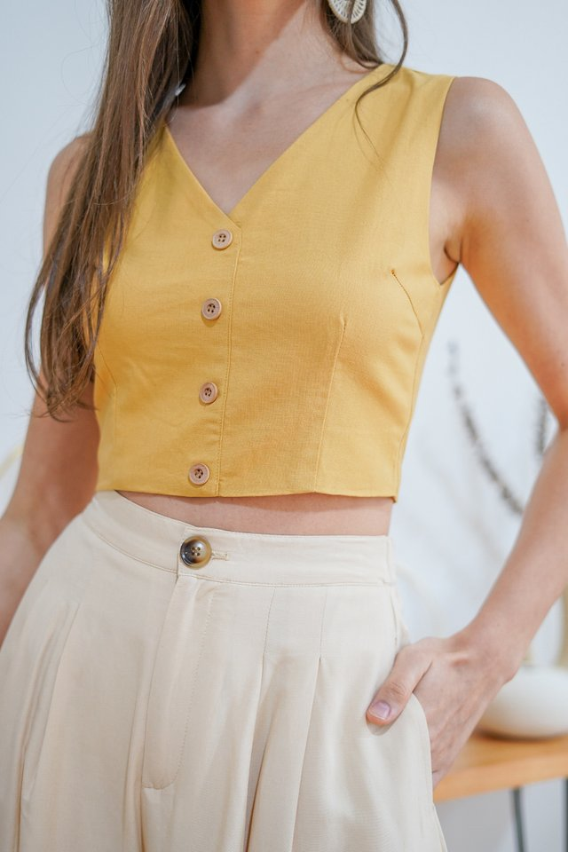MAXINE V-NECK LINEN CROP TOP #MADEBYLOVET (MUSTARD)