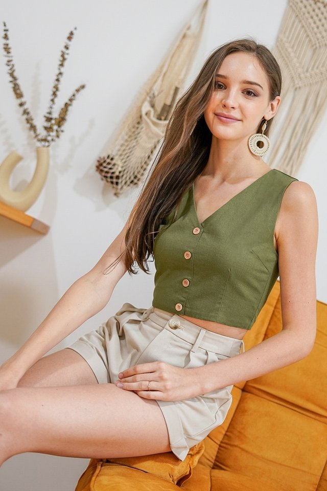 MAXINE V-NECK LINEN CROP TOP #MADEBYLOVET (OLIVE GREEN)