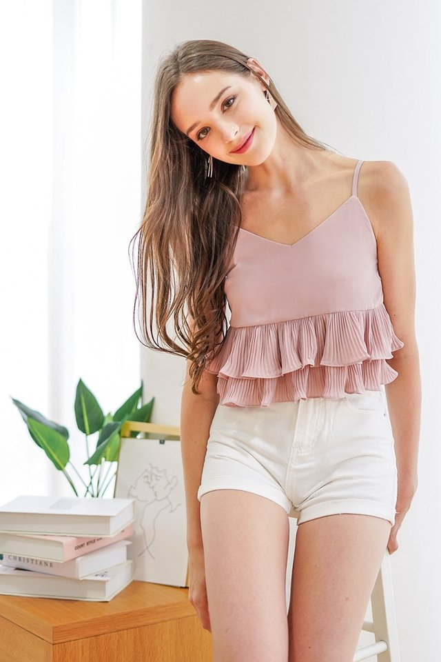 MYRELLE PLEATED BABYDOLL TOP #MADEBYLOVET (DUSTY PINK)