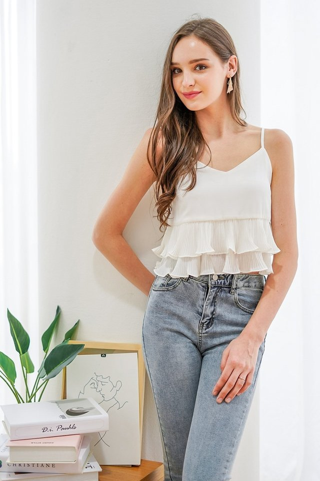 MYRELLE PLEATED BABYDOLL TOP #MADEBYLOVET (WHITE)