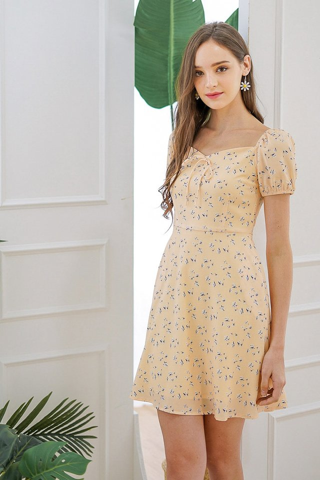 NYSSA SWEETHEART FLORAL DRESS #MADEBYLOVET (BUTTERMILK YELLOW)