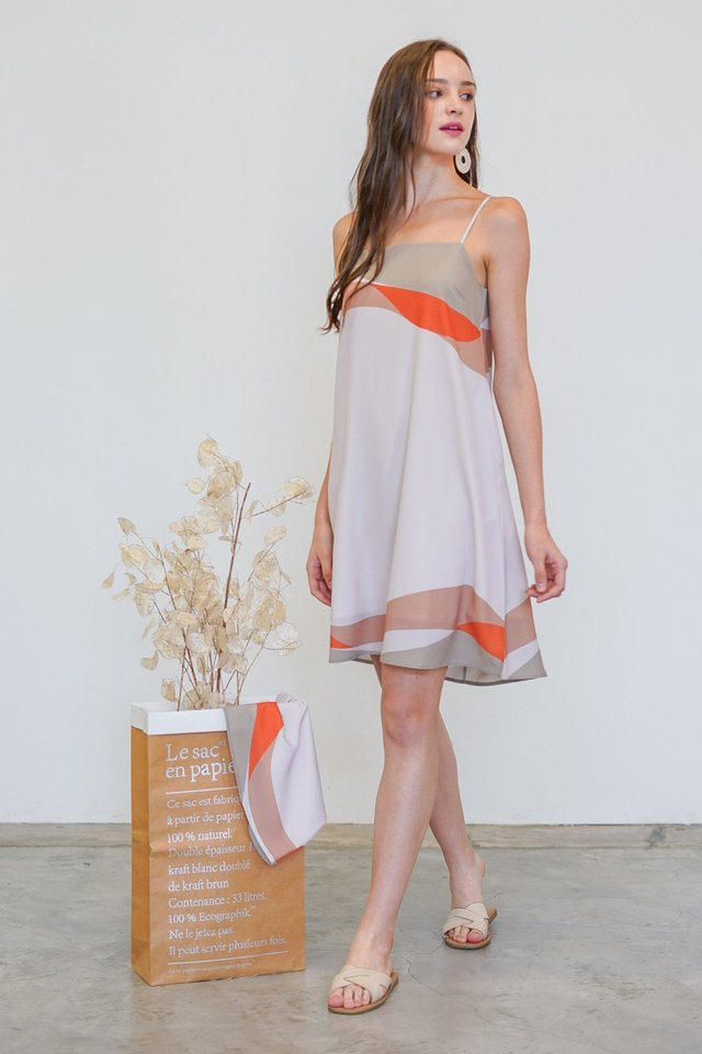ODELIA LANDSCAPE CAMI SLIP DRESS #MADEBYLOVET (DAWN)
