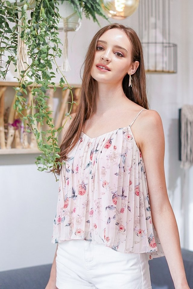 ROCHELLA FLORAL CAMI PLEATED TOP #MADEBYLOVET (BLUSH) *BACKORDER*