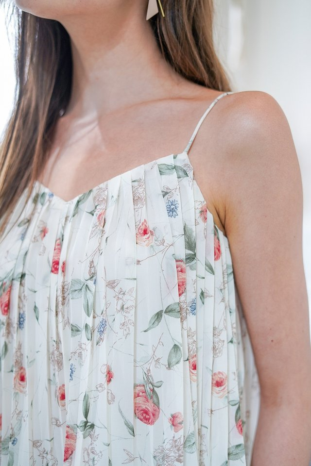 ROCHELLA FLORAL CAMI PLEATED TOP #MADEBYLOVET (WHITE)
